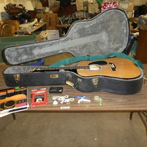 Lot # 242 - Burswood Acoustic Guitar in Case w/Extra Strings, Picks & Tuner