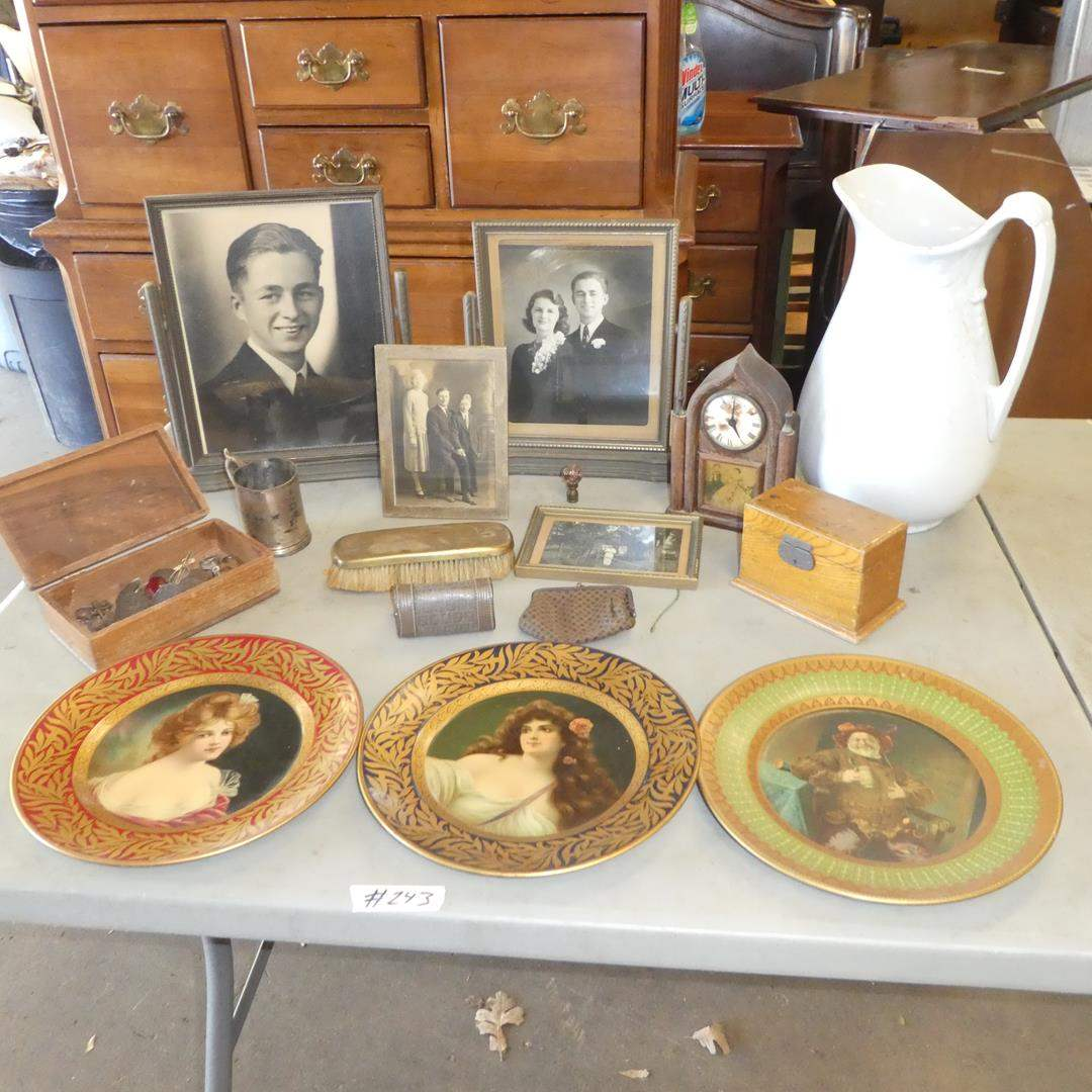 Lot # 243 - Vintage Framed Family Photos, Old Mantle Clock, Wash Pitcher, Buttons & More (main image)