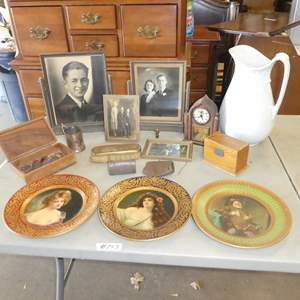 Lot # 243 - Vintage Framed Family Photos, Old Mantle Clock, Wash Pitcher, Buttons & More