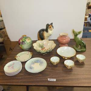 Lot # 244 - Vintage Figurines, Germany Hand Painted Bowl Set, Italy Firenze Hand Painted Vase & More