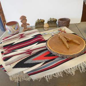 Lot # 245 - Rustic Log Slice Lazy Susan, Beaded Accessories, Pine Needle Basket, Brass Horse Bookends, Southwest Blankets & More