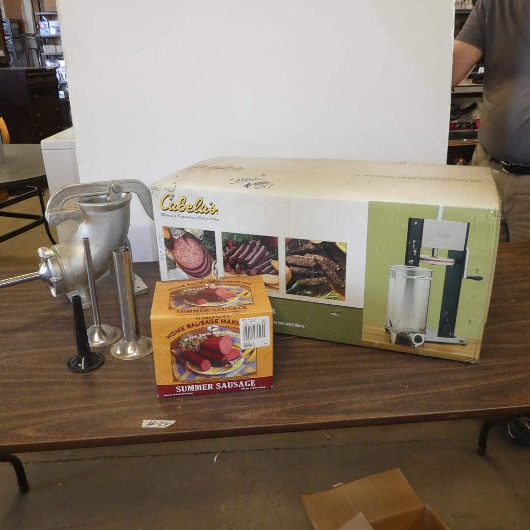 Lot # 247 - Cabela's 11 Pound Vertical Stuffer (NIB) & Home Sausage Making Kit (main image)