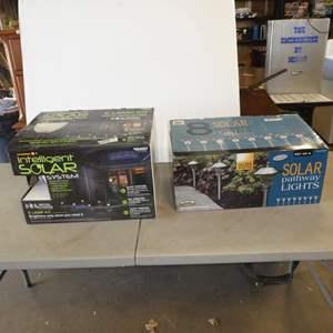 Lot # 248 - Solar Motion Activated 6 Lamp Kit & 8 Solar Pathway Lights (NIB)
