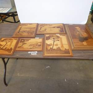 Lot # 249 - Six Vintage Wood Inlay Made in Italy Wall Art Pictures
