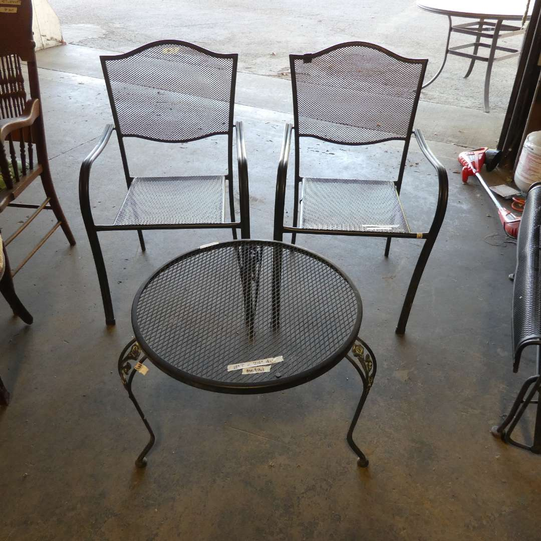 Lot # 3 - Metal Table & Two Chairs (main image)