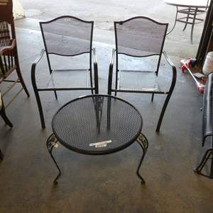Lot # 3 - Metal Table & Two Chairs