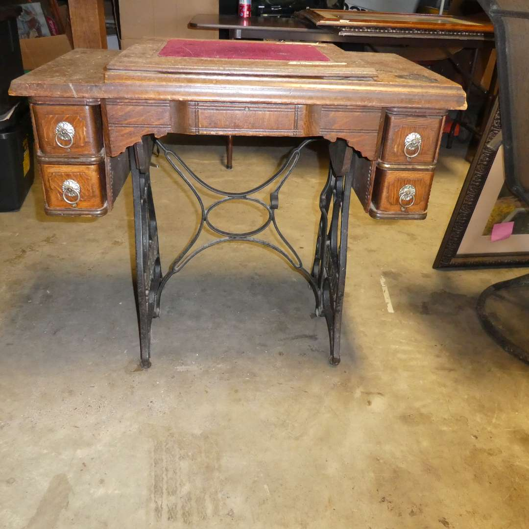 Lot # 13 - Vintage New Home Sewing Desk- No Machine (main image)