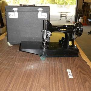 Lot # 14 - Vintage Portable  Featherweight Singer Sewing Machine Serial # AG855377