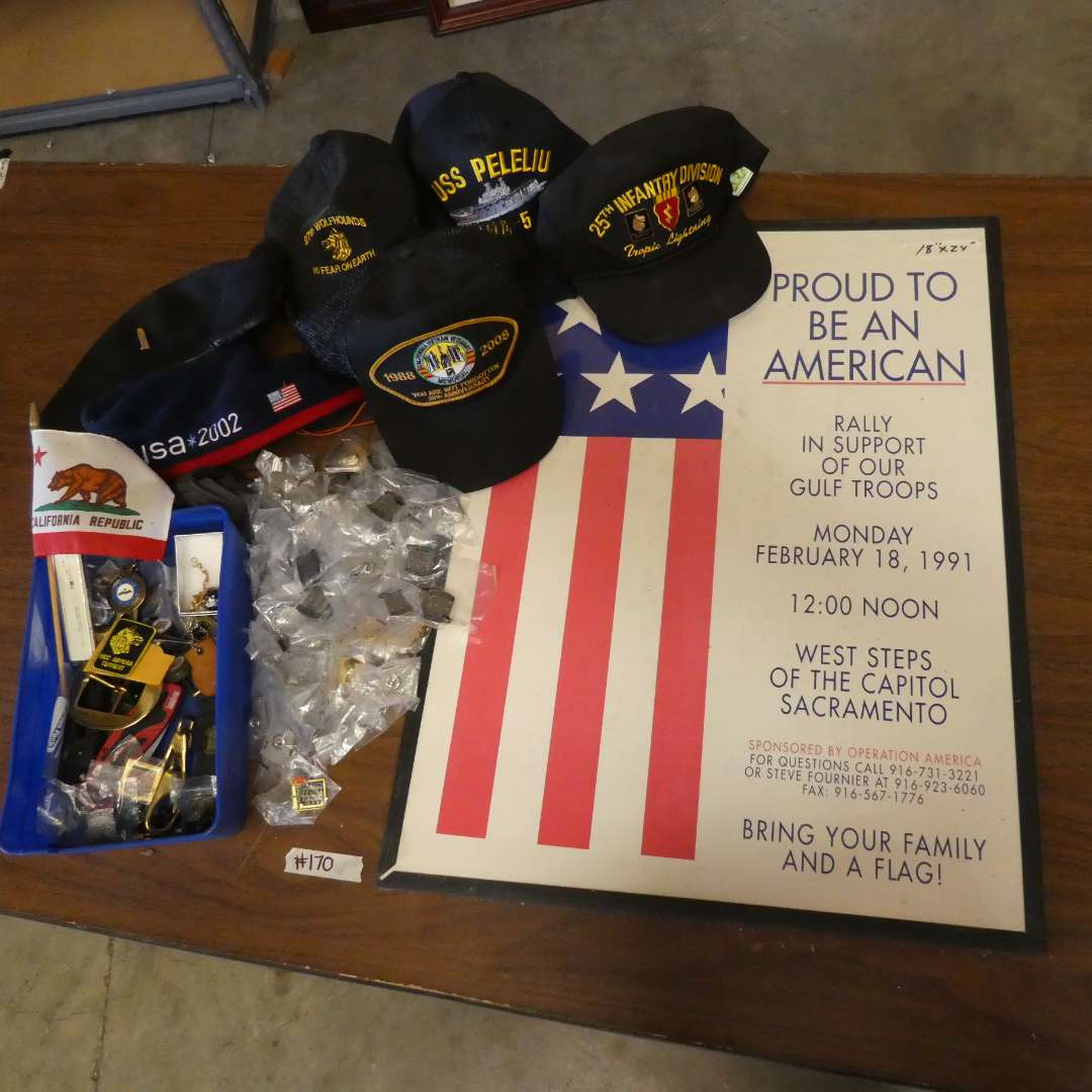 Lot # 170 -Military Hats & Police Pins With A Box Of Misc.  (main image)