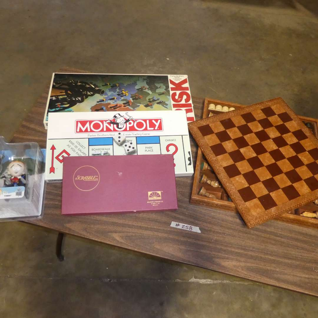 Lot # 258 - Wood Chess Set In Wood & Leather Box And Other Board Games (main image)