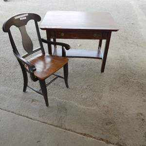 Lot # 271 - Antique Desk And Chair