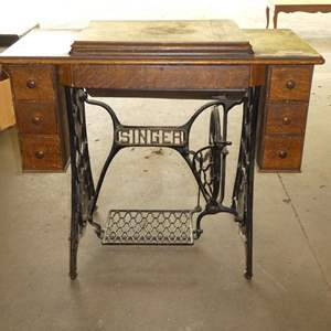 Lot # 273 - Vintage Singer Sewing Desk With Notions- No Machine