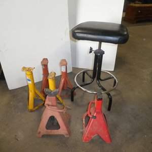 Lot # 68 - Adjustable Swivel Shop Stool & Jack Stands
