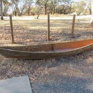 Lot # 136 - Flat Bottom Wooden Canoe for Restoration or Planter.