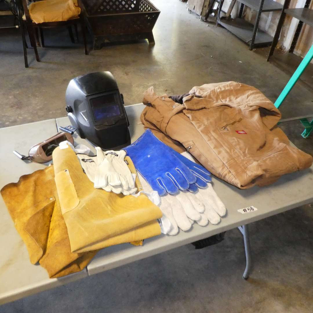 Lot # 50 - Welding Helmet, Gloves, Aprons and  Dickies Coveralls (No Tag Seem to be L- XL) (main image)