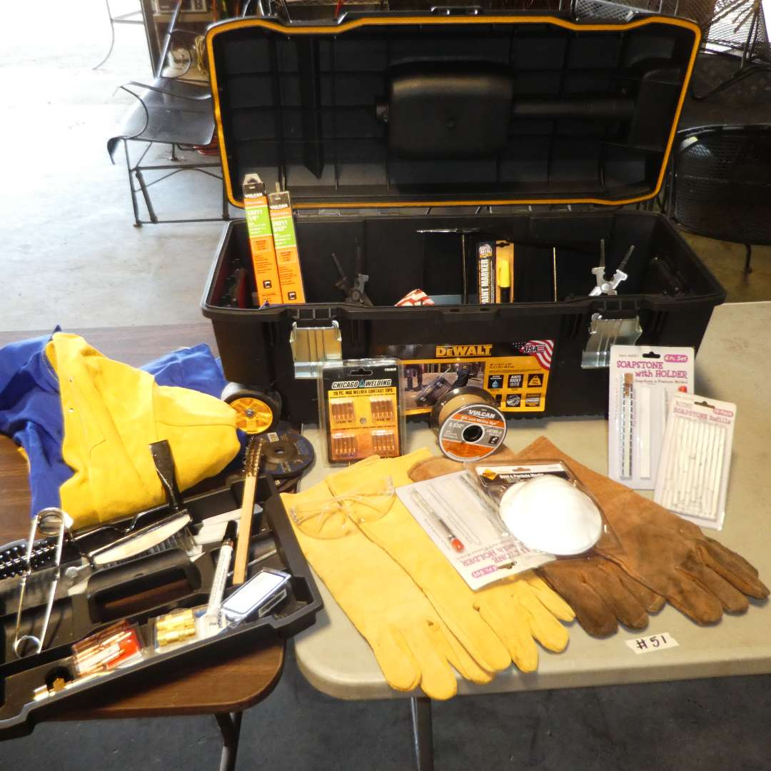 Lot # 51 - DeWalt Portable Rolling Toolbox & Welding Supplies (Gloves, Tools, Safety Glasses, Jacket and More) (main image)