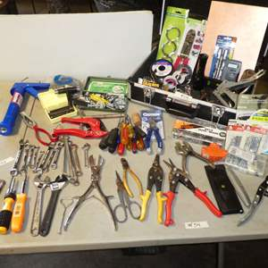 Lot # 54 - Assorted Tool Lot - (Wrenches, Screw Drivers, Stapler, Hardware, Box and More)
