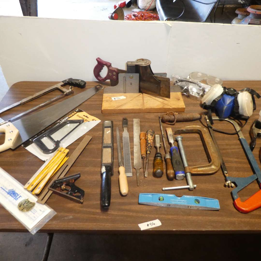Lot # 56 - Assorted Saws, Safety Glasses, Files, Wood Working Tools and More (main image)