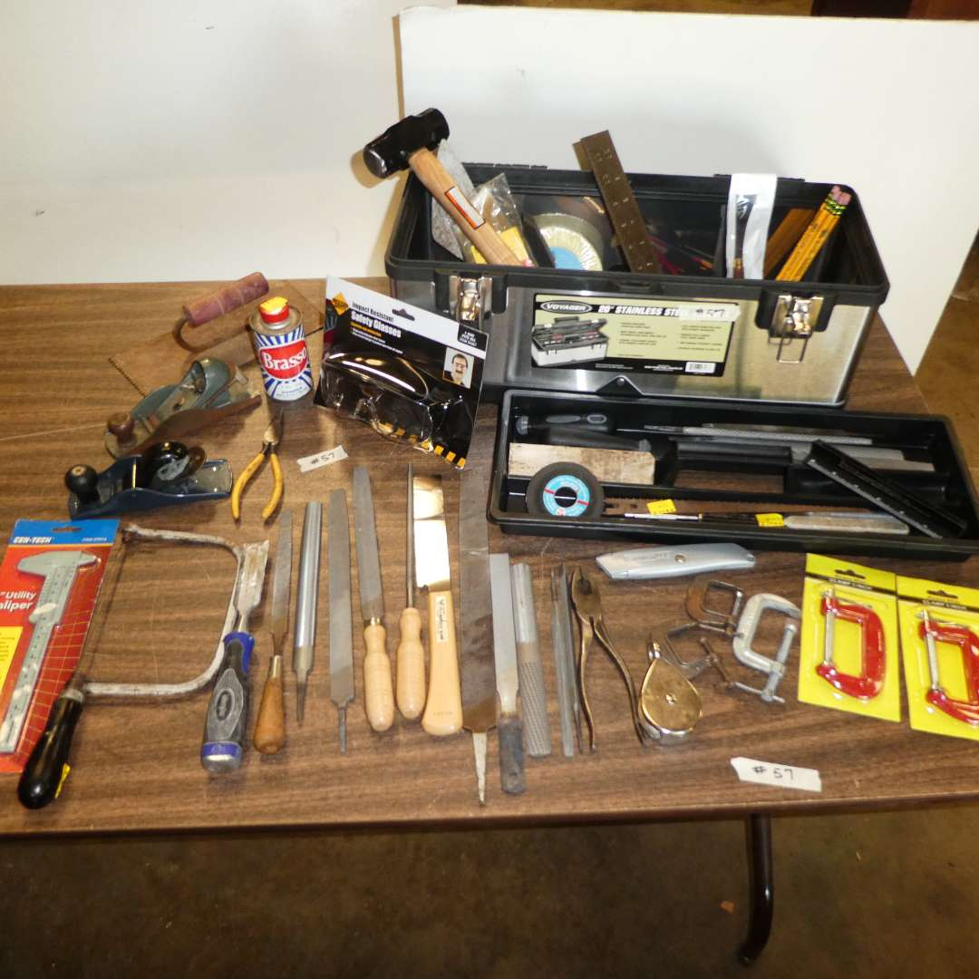 Lot # 57 - Tool Box w/ Files, Clamps, Safety Mask, Planes, Hammer, Contractor Squares & More (main image)