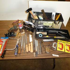 Lot # 57 - Tool Box w/ Files, Clamps, Safety Mask, Planes, Hammer, Contractor Squares & More