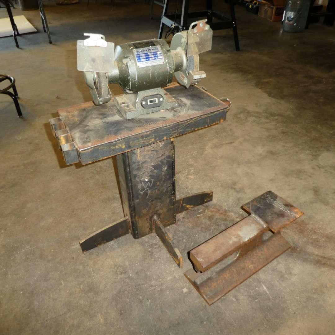 Lot # 61 - Bench Grinder w/ Handmade Steel Stand & Anvil (main image)