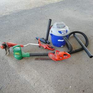 Lot # 64 - Electric Weed Eater, Blower, Head Trimmer & Shop Vac (Missing Wheels)