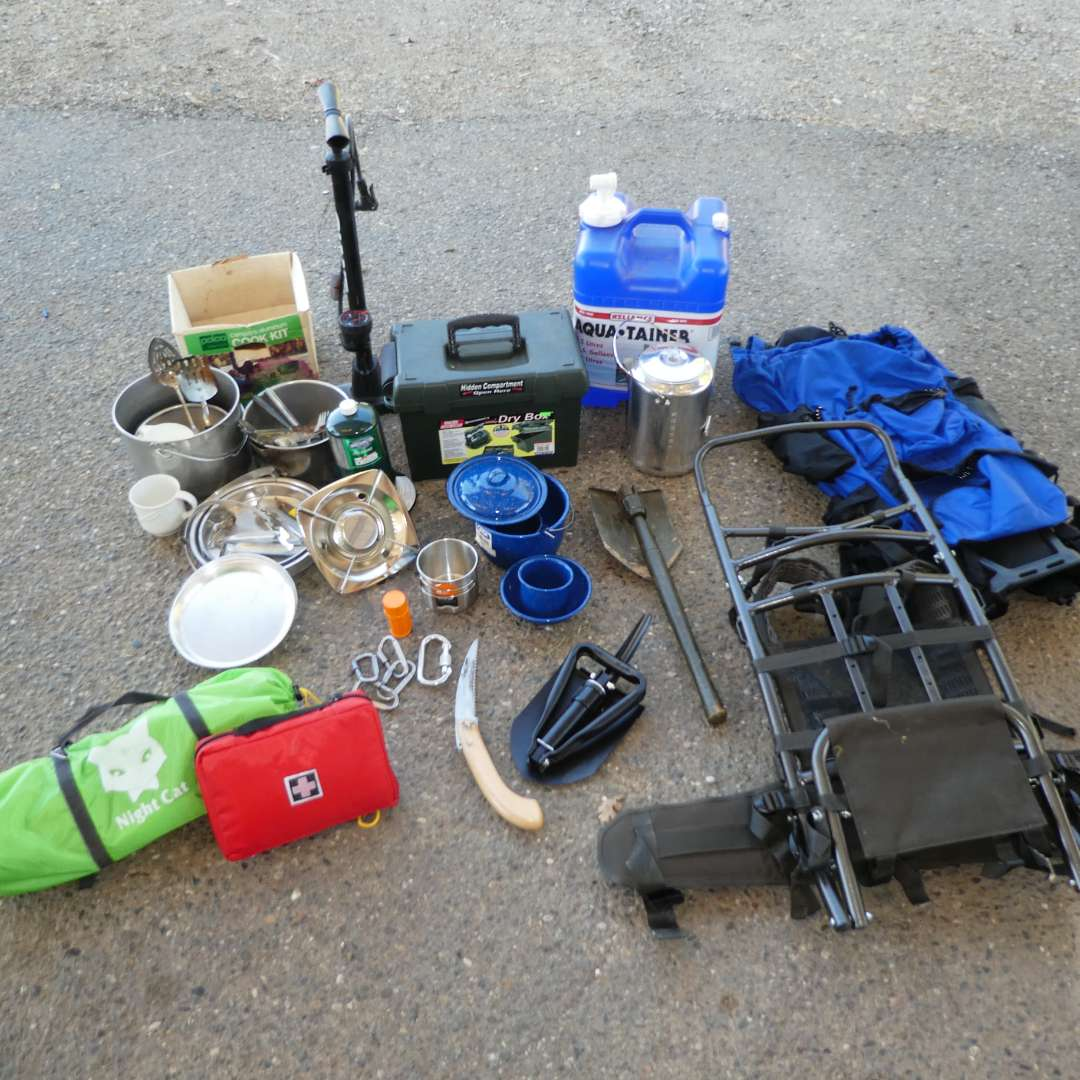 Lot # 66 - Camping/ Backpacking Lot- Cooking Supplies, Single Tent (Looks New),Dry Box, Water Jug, Compact Shovels & More (main image)