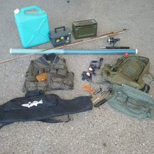 Lot # 67 -Six Gallon Water Jug, Fishing Rods, Ammo Boxes, Pocket Knives, Cabela's Fishing Vest, Backpack & More