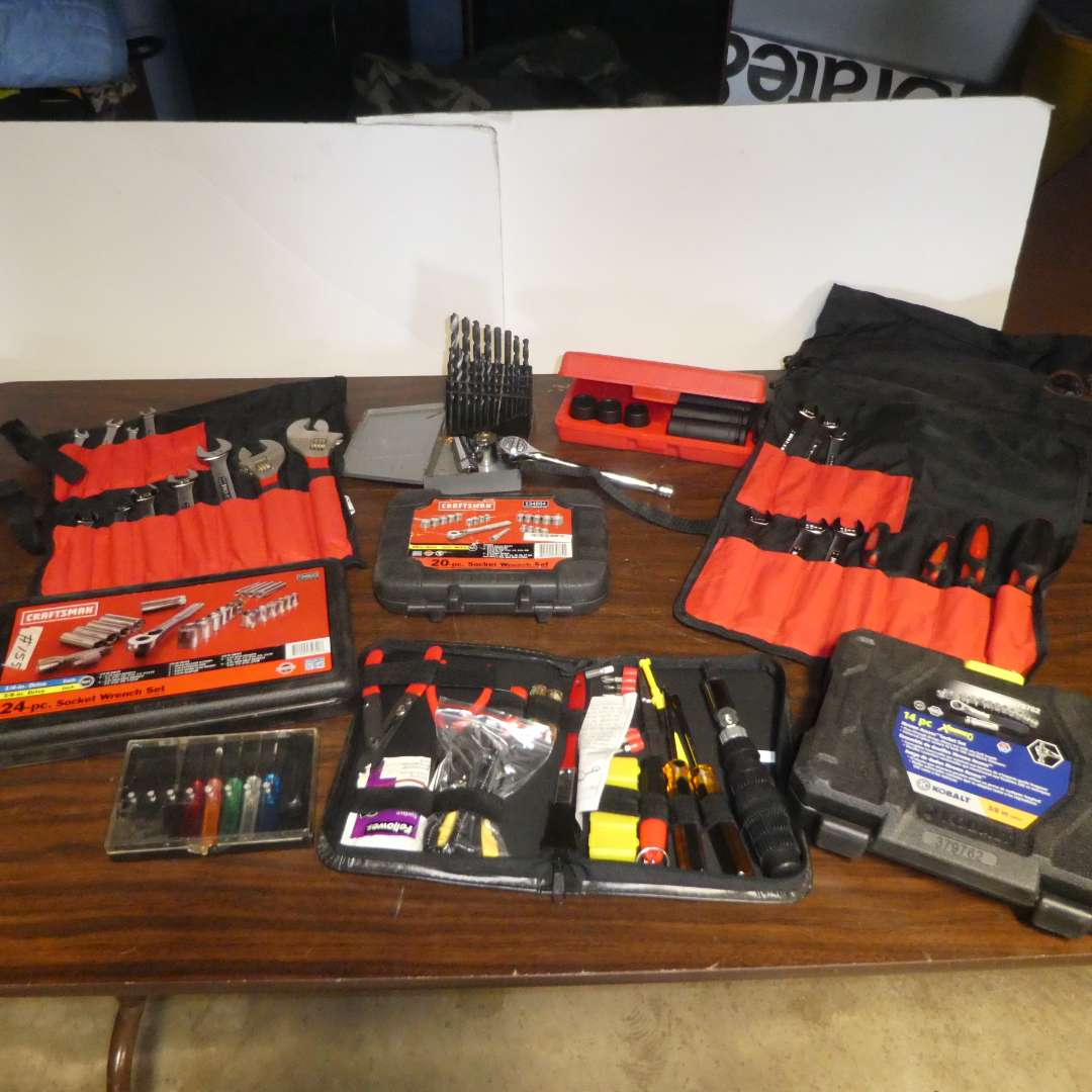 Lot # 155 - Craftsman Socket & Wrench Sets and Other Misc Tool Sets (Pieces Not Counted) (main image)