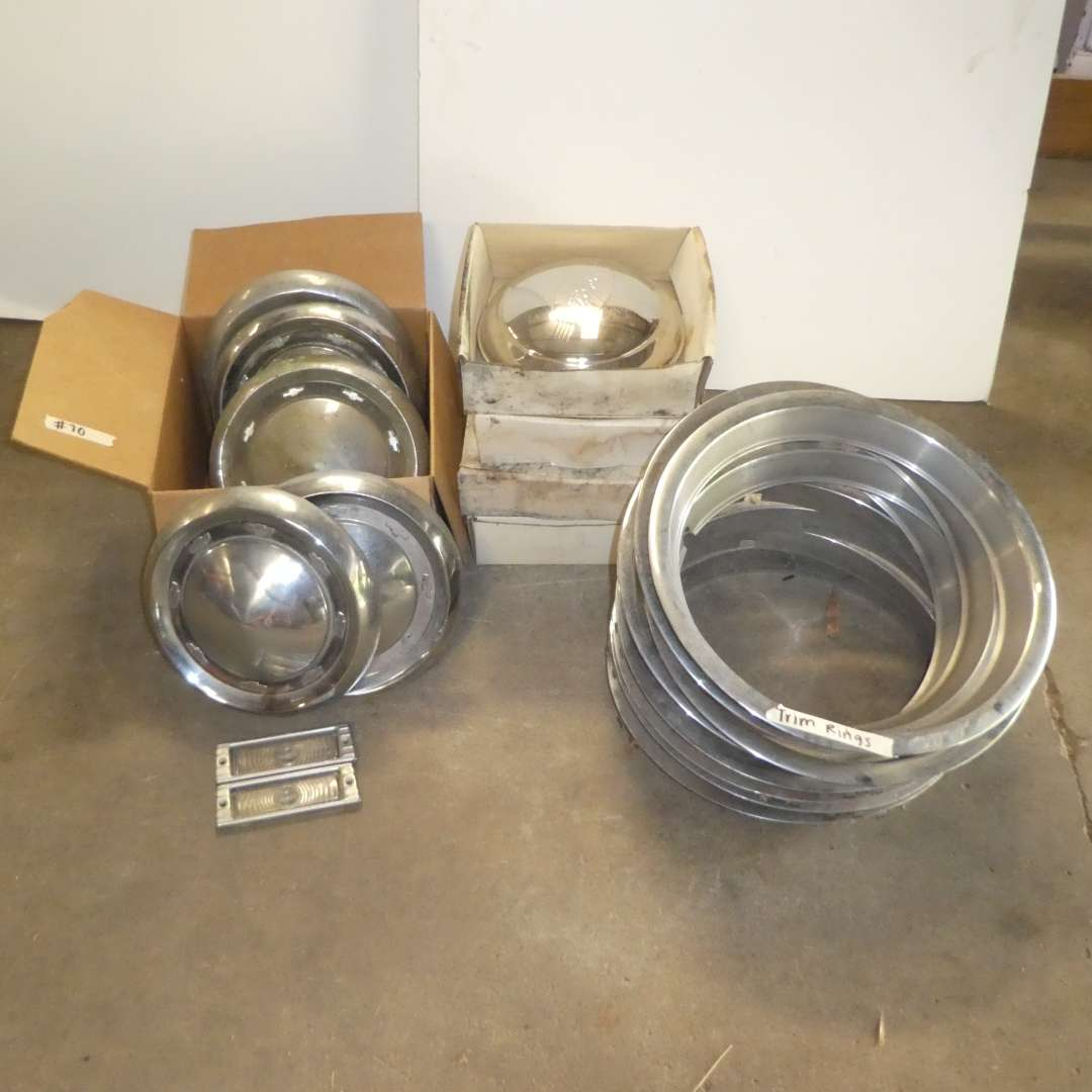 Lot # 70 - Vintage Trim Rings & Ford & Chevy Hubcaps  (main image)