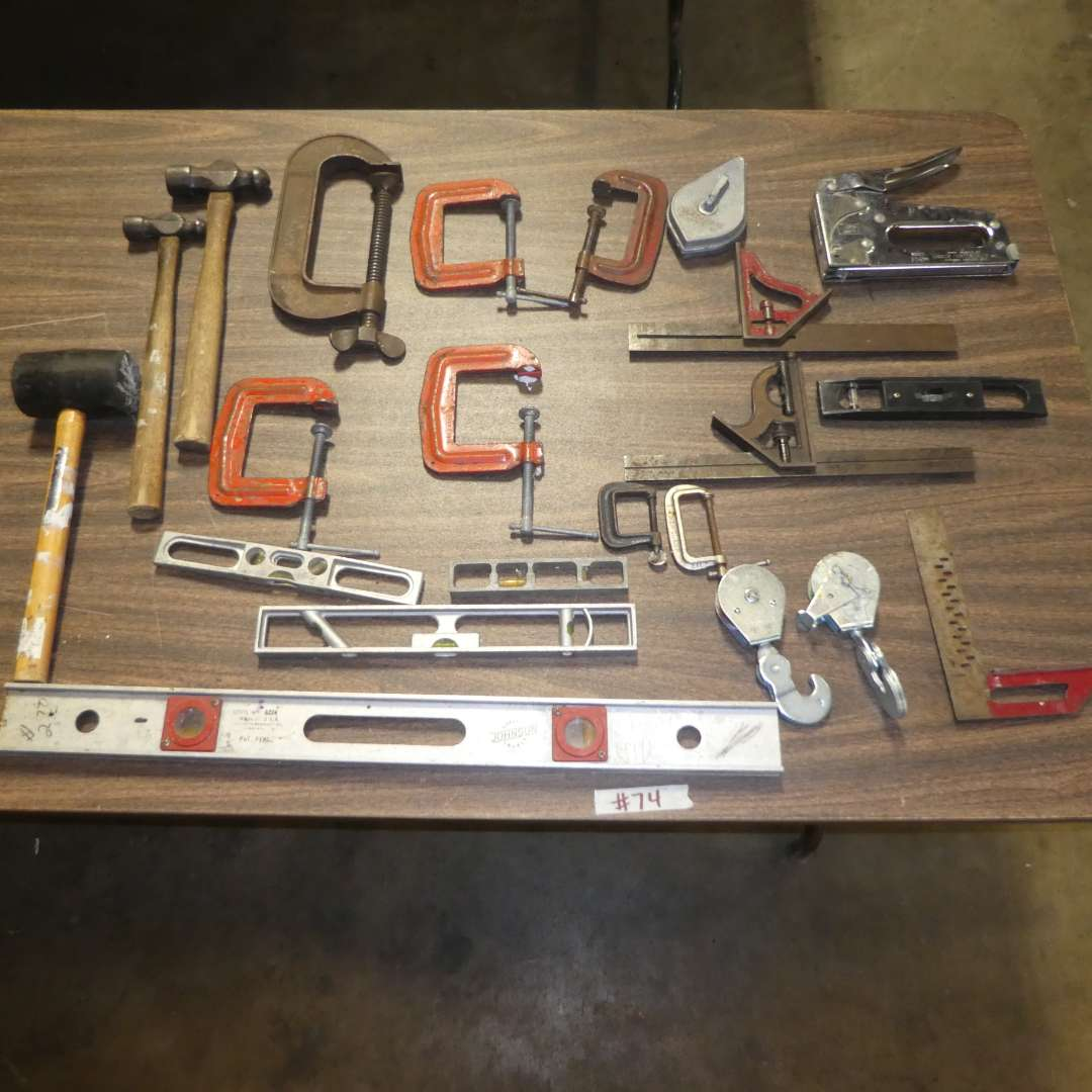 Lot # 74 - Assorted Clamps, Hammers, Levels & More (main image)