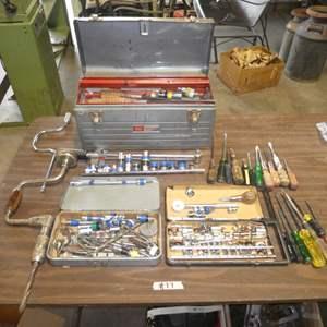 Lot # 77 - Metal Craftsman Tool Box w/ an Assortment of Screw Drivers, Drill Bits, Sockets & More