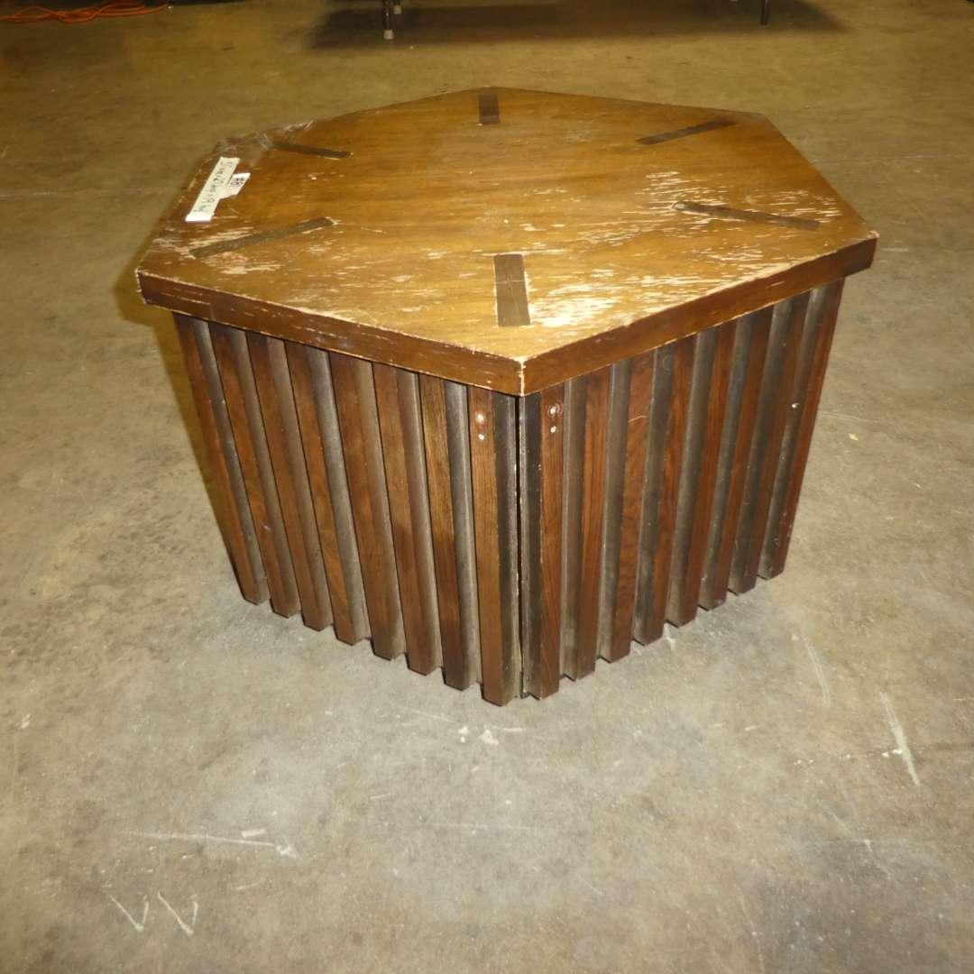 Lot # 81 - Cute Vintage Hexagonal Side Table w/ Storage (Needs Some TLC) (main image)