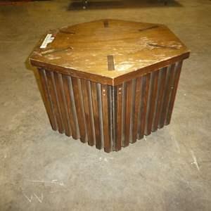 Lot # 81 - Cute Vintage Hexagonal Side Table w/ Storage (Needs Some TLC)