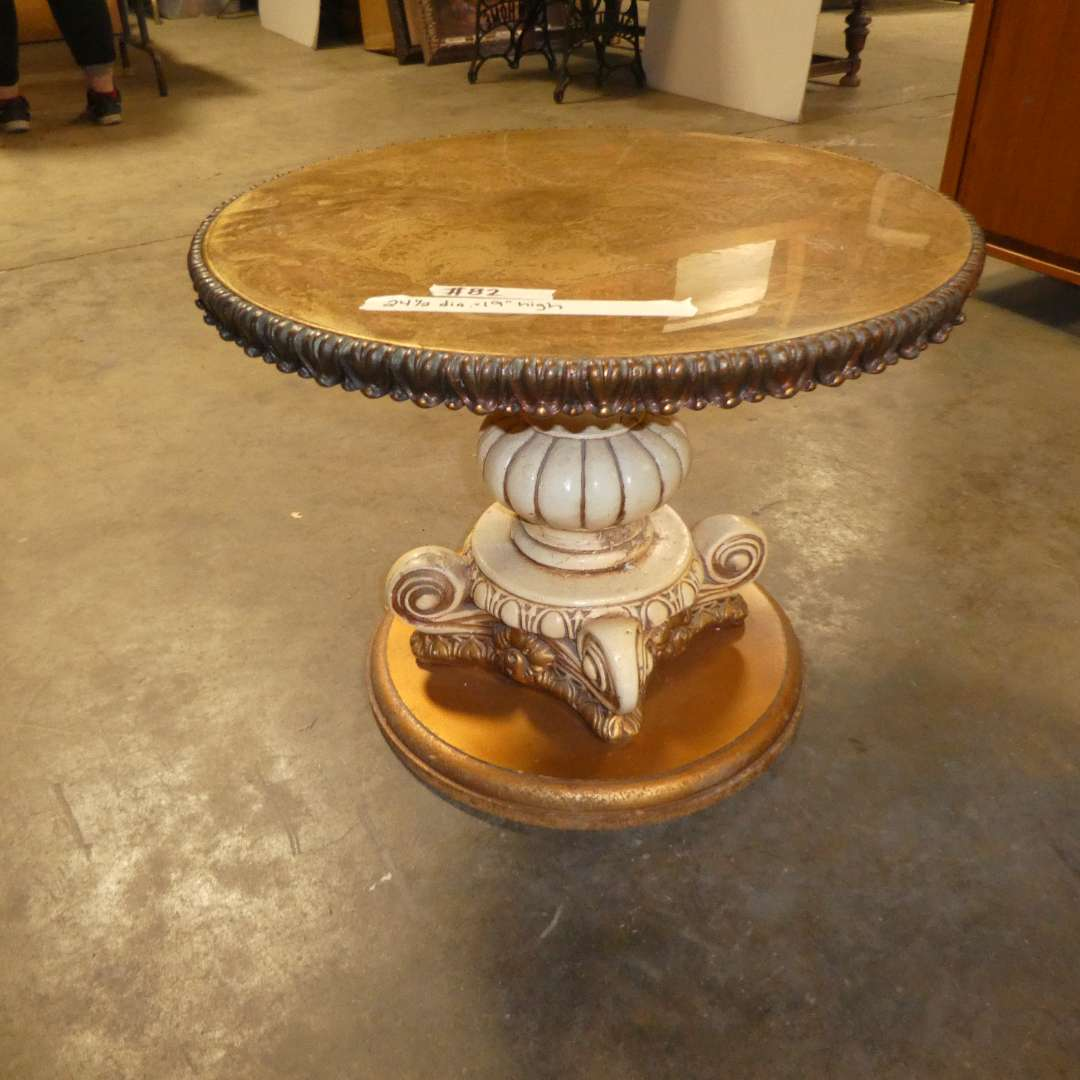 Lot # 82 - Round French Style Side Table  (main image)