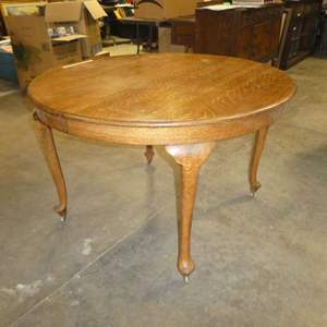 Auction Thumbnail for: Lot # 84 - Round Vintage Solid Oak Dining Table on Wooden Casters