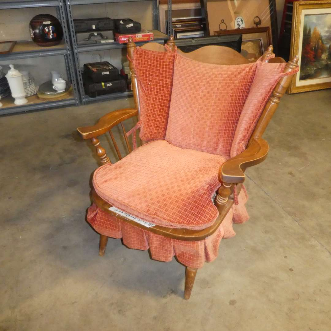 """Lot # 85 - Adorable Vintage """"Tell City Chairs"""" Spring Rocker (Cushions are in Good Condition) (main image)"""