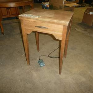 Lot # 86 - Vintage Sewing Table w/ Morse Sewing Machine (Electrical Needs Work)