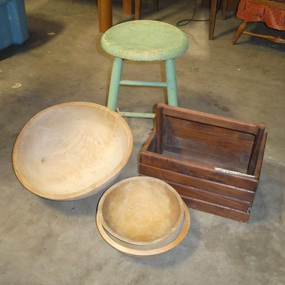 Lot # 89 - Vintage Wooden Stool w/ Primitive Wooden Bowls (main image)