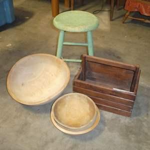 Lot # 89 - Vintage Wooden Stool w/ Primitive Wooden Bowls