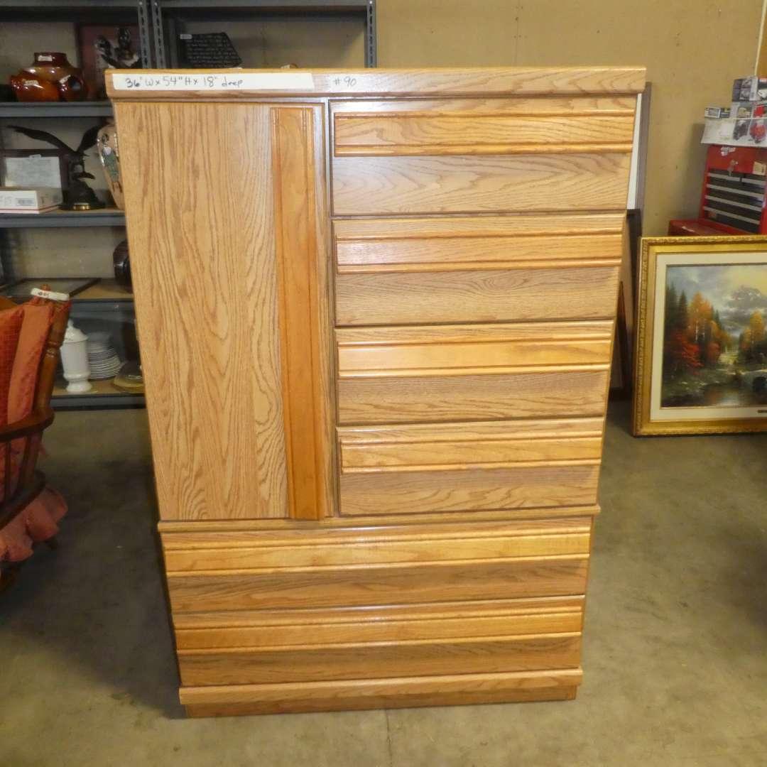 Lot # 90 - Oak Dresser w/ Storage Cabinet on One Side  (main image)