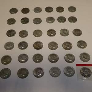 Lot # 302 - 36 Silver Half Dollars (40% Silver)