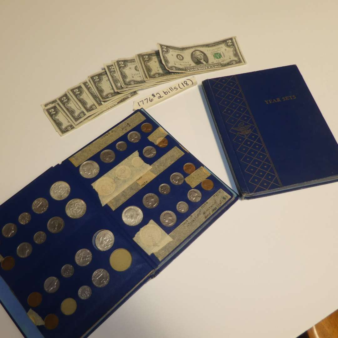 Lot # 303 - 18 1976 $2 Bills & 2  Coin Year Sets (Not Completely Full) (main image)