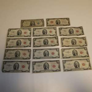 Lot # 309 - 13 $2 Red Seal Notes (Dates Vary) & One $1 1957 A Silver Certificate Note