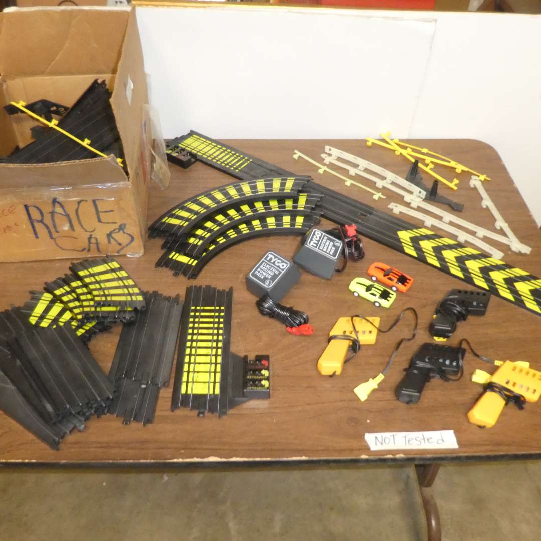 Lot # 312 - Tyco Slot Cars w/ Track & Remotes (Not Tested) (main image)
