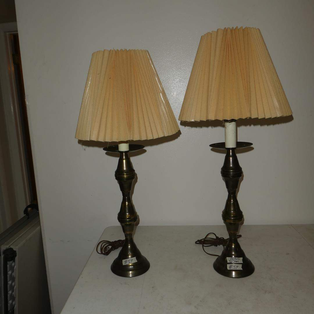 Lot # 54 - Vintage Pair Brass Table Lamps (main image)