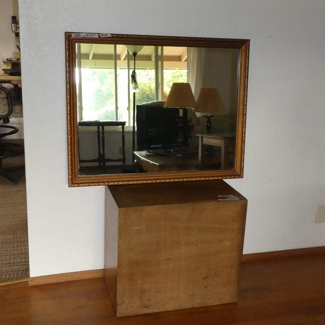Lot # 58 - Wood Framed Wall Mirror & Wooden Box (main image)