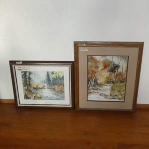 Lot # 59 - Two Framed Watercolor Paintings by Local Artist Elaine Lozoya