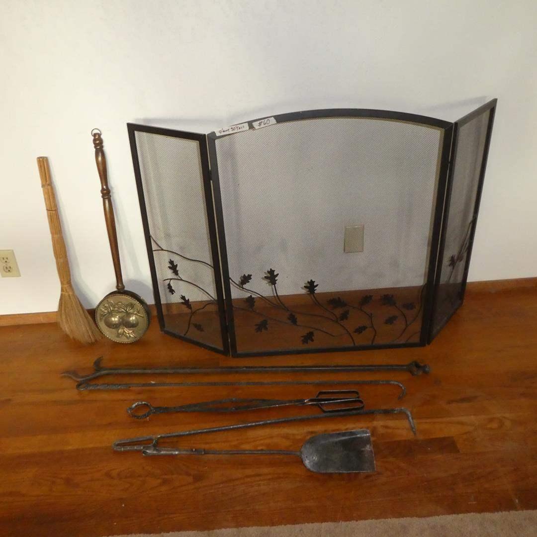 Lot # 60 - Metal Folding Fireplace Screen & Fireplace Tools (main image)