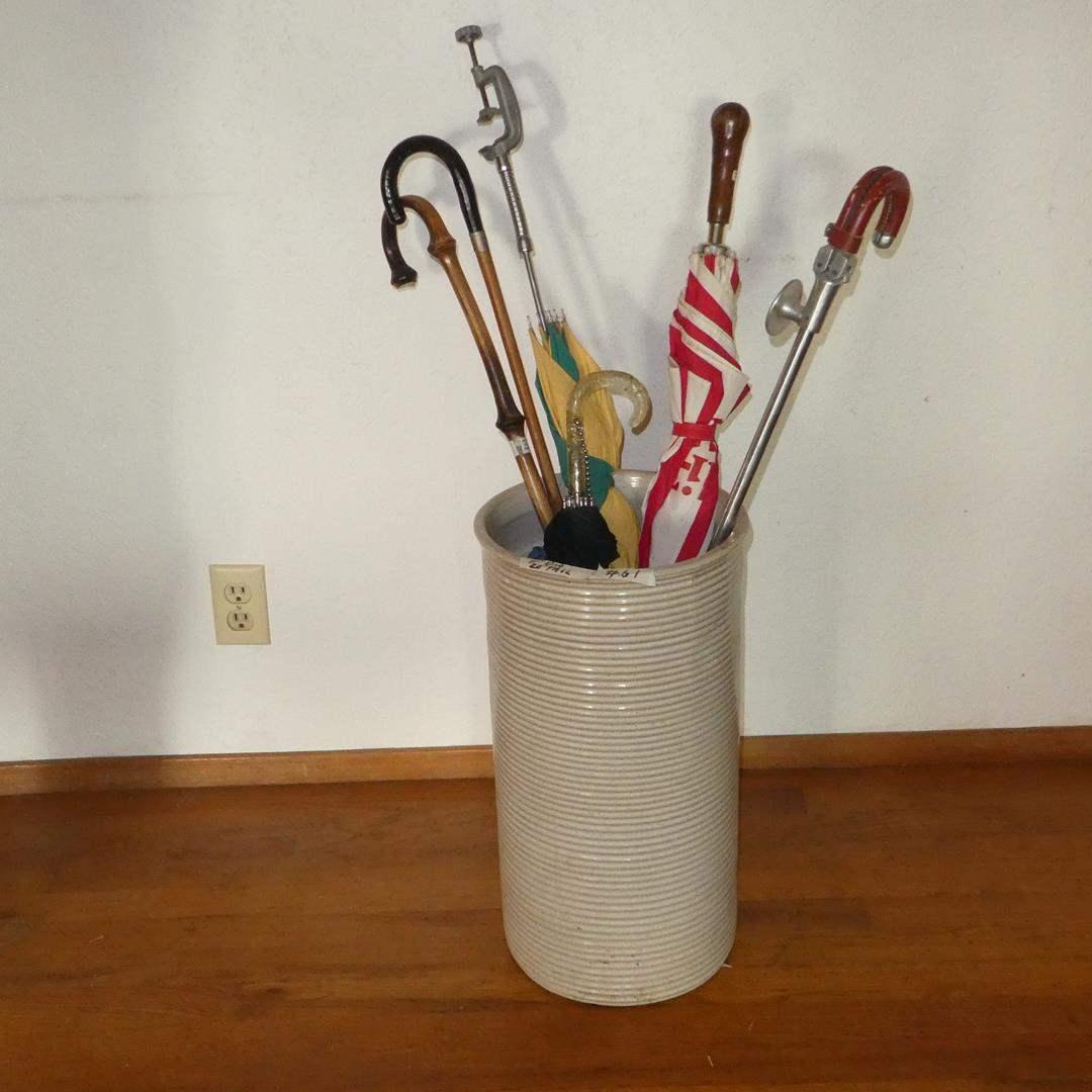 Lot # 61 - Vintage Crock, Umbrellas & Canes (main image)